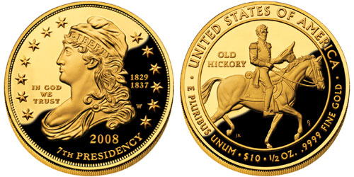 2008 Andrew Jackson S Liberty First Spouse Gold Coin