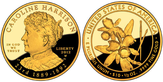 Caroline Harrison First Spouse Gold Coin