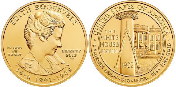 2009 Edith Roosevelt First Spouse Gold coin