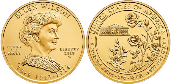 2013 Ellen Wilson First Spouse Gold Coin