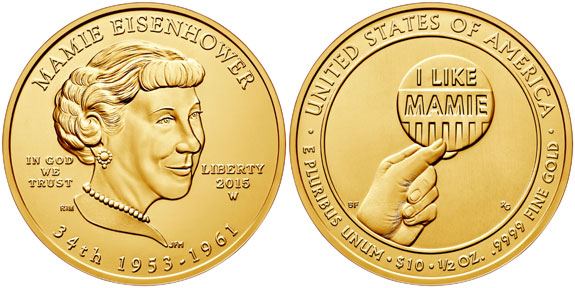 Mamie Eisenhower First Spouse Gold Coin